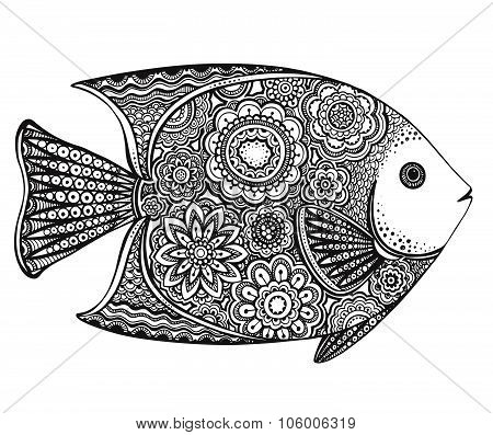 Hand Drawn Fish With Floral Elements