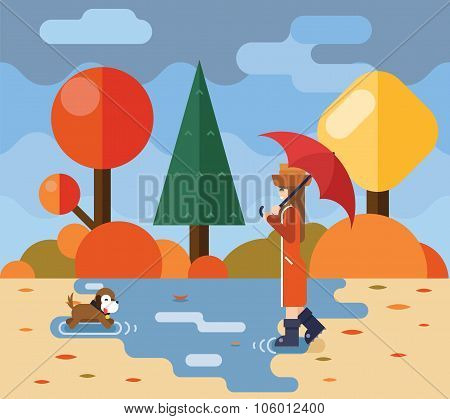 Autumn walk with dog puddles umbrella nature park concept flat design landscape background template