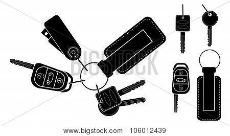 Set of realistic keys. Black