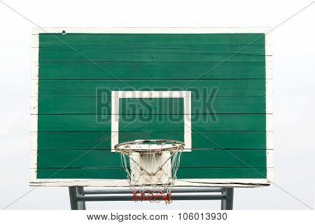 Basketball Hoop  - Outdoor basketball hoop and green backboard, taken from a front view. Isolated on