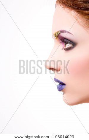 Beautiful lady with creative make-up