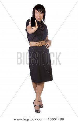 Beautiful Asian-hispanic Woman Holding A Cell Phone