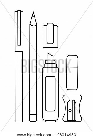 Stationery writing tools set. Pen, pencil, yellow marker, eraser, sharpener. Vector contour lines clip art illustration isolated on white poster