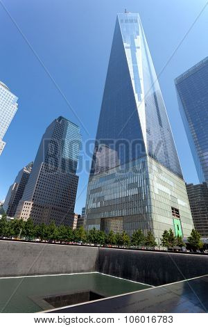Freedom Tower And Memorial Fountain In Manhattan, Nyc.