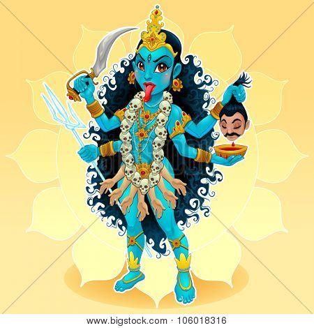 Kali goddess. Funny representation of eastern god, vector cartoon illustration.