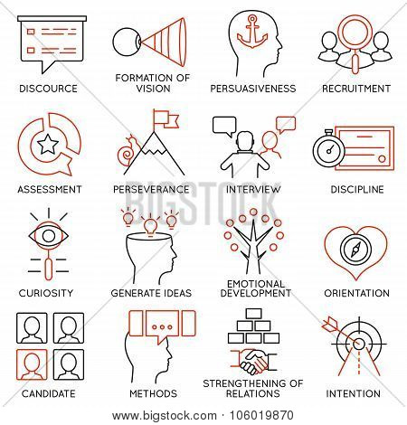 Set of icons related to business management - part 24