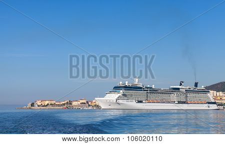 White Celebrity Equinox Cruise Ship In Ajaccio