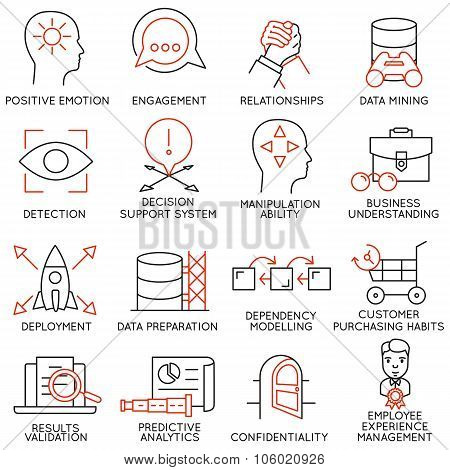 Set of icons related to business management - part 26