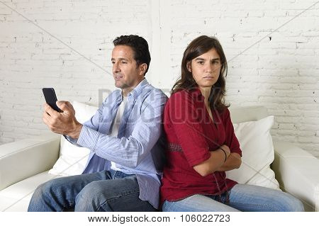 Social Network Addict Man Using Mobile Phone Ignoring Wife Or Girlfriend Upset And Angry
