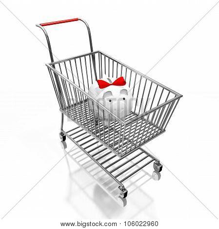 Savings Piggy Bank In Shopping Cart