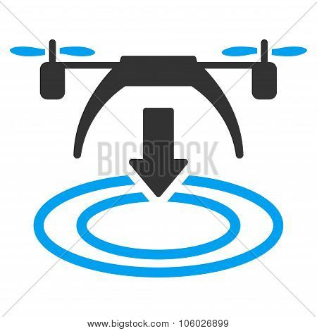 Copter Landing vector icon. Style is flat symbol rounded angles white background. poster