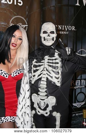 LOS ANGELES - OCT 24:  Aubrey O'Day, Kyle Massey at the MAXIM Magazine's Official Halloween Party at the Private Estate on October 24, 2015 in Beverly Hills, CA