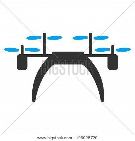 Quadcopter vector icon. Style is flat symbol rounded angles white background. poster