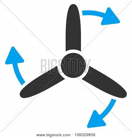 Three Bladed Screw Rotation vector icon. Style is flat symbol, rounded angles, white background. poster