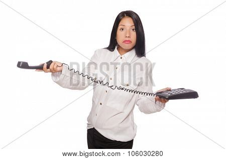 Woman in funny business concept on white poster