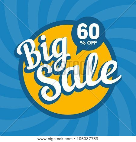 Big sale of 60 percent. Vector background.