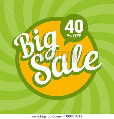 Big sale of 40 percent. Vector background.