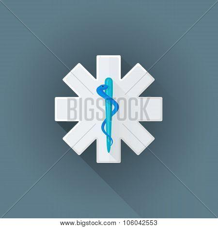 Vector Flat Ambulance Emblem Sign Illustration Icon.