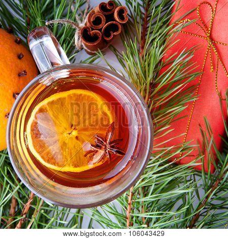 Hot Winter Drinks. Black Tea With Lemon, Cinnamon, Star Anise Seeds And Orange