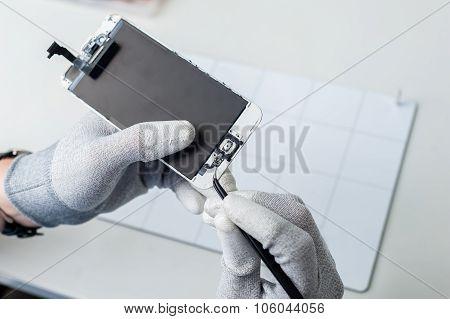 Smartphone components close-up.
