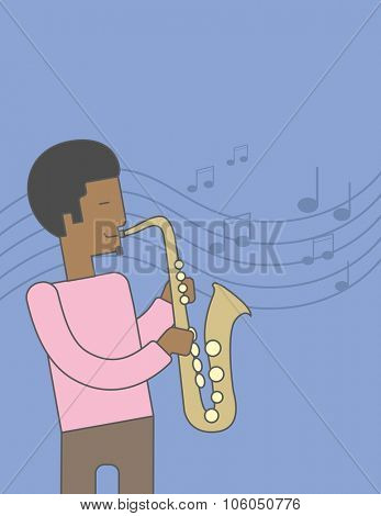 A smiling african-american musician playing saxophone on blue background with notes. Vector line design illustration. Vertical layout with a text space for a social media post. poster