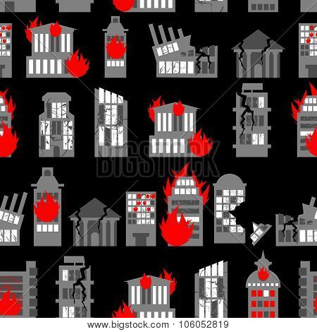 Ruined City Seamless Pattern. Ruins Of Buildings. Fire In Homes. Background Of War - Ravaged City.