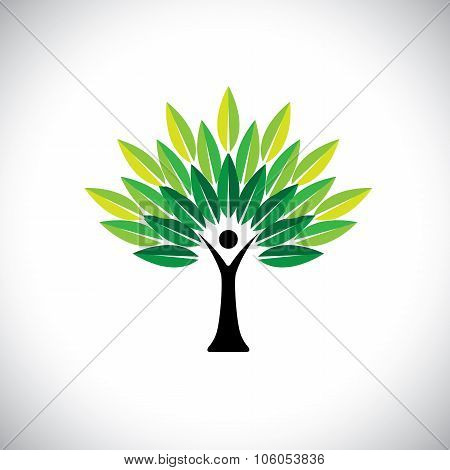Human Hand & Tree Icon With Green Leaves - Eco Concept Vector