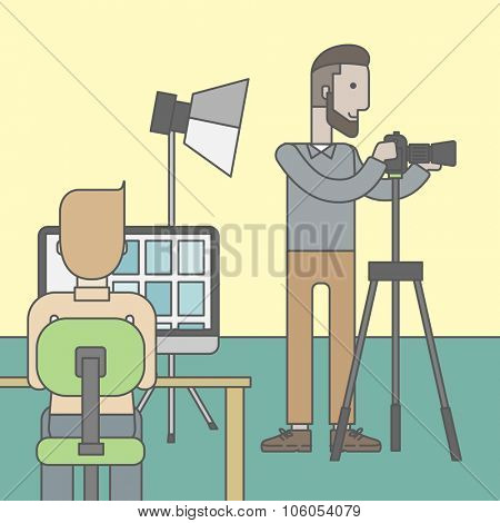 A caucasian hipster photographer stands with camera while another man sits in front of monitor in studio. Vector line design illustration. Square layout.