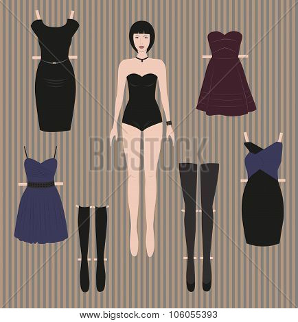Doll with clothes for play. Dress Up Paper Doll.
