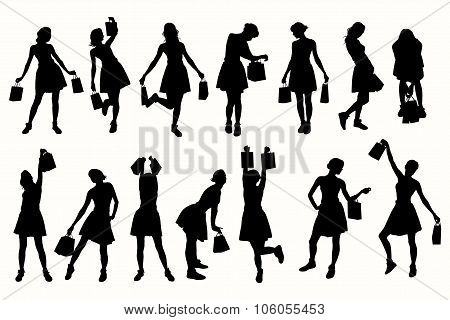 Shopping girls vector silhouettes.