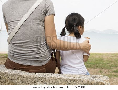 Mother Female Child Love Heart Care Given Relationship Concept