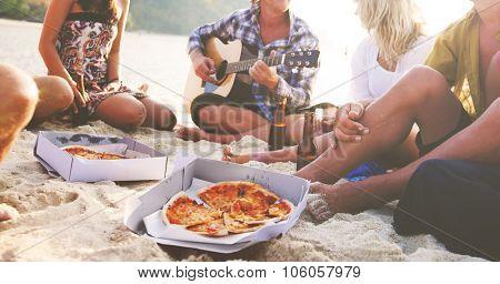 Friends Summer Vacation Recreation Beach Concept poster
