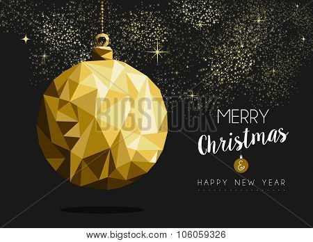 Merry Christmas Happy New Year Gold Bauble Origami