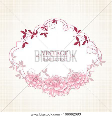 Floral frame with flower dahlia. Element for design. Vector illustration.