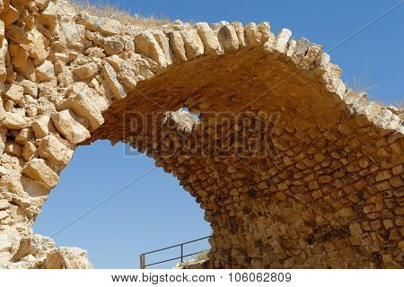 Ancient stone arch of Kerak Castle in Jordan