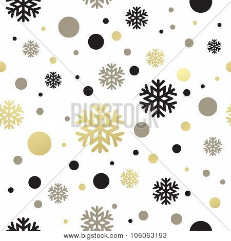 Seamless white christmas wallpaper with black and golden  snowflakes. Vector illustration