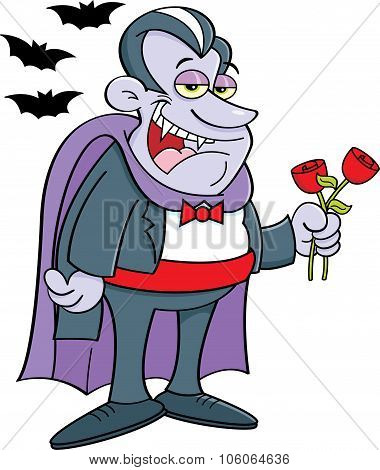 Cartoon vampire holding roses.