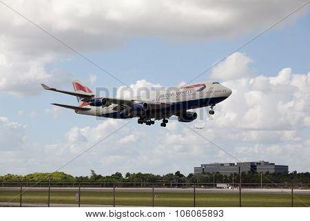 MIAMI, USA - October 22, 2015: Boeing 747 British Airways lands at Miami International Airport.