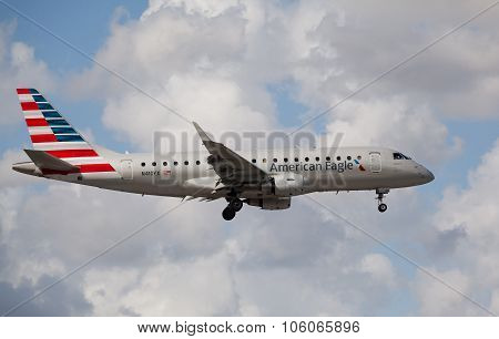 MIAMI, USA - November 1, 2015: Embraer 175 of American Eagle Airlines landing at Miami International