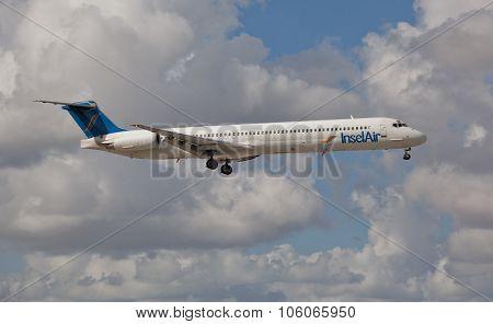 MIAMI, USA - November 1, 2015: Insel Air MD80 landing at Miami International Airport.