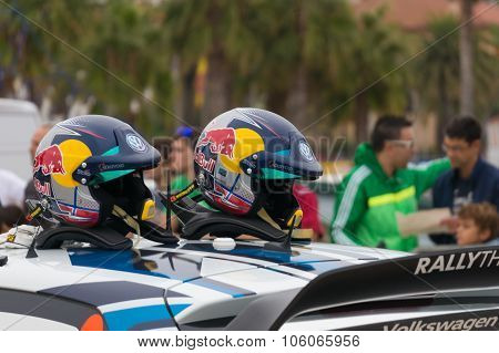 Helmets of Andreas Mikkelsen and his co-driver O Floene  in Salou , Spain