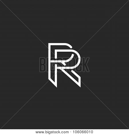 Letter R Logo Monogram, Mockup Hipster Black And White Design Element, Wedding Invitation Template E