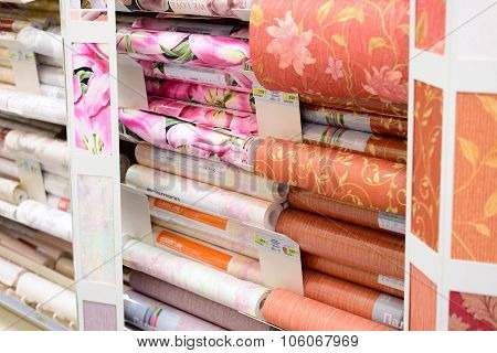 MOSCOW, RUSSIA - FEBRUARY 15, 201: roll of a wallpaper in Leroy Merlin Store. Leroy Merlin is a French home-improvement and gardening retailer serving thirteen countries