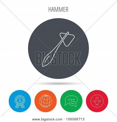 Reflex hammer icon. Doctor medical equipment sign. Nervous therapy tool symbol. Globe, download and speech bubble buttons. Winner award symbol. Vector poster