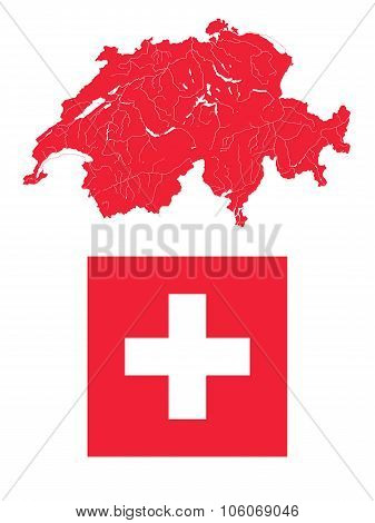 Map Of Switzerland With Lakes And Rivers And Swiss Flag.