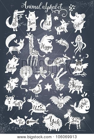 Awesome zoo alphabet in vector. Lovely animals with english names on chalkboard texture. Stylish abc-poster in black and white colors for children preschool education