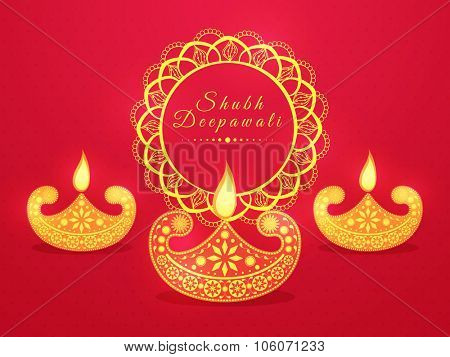 Floral design decorated illuminated lit lamps on glossy background for Indian Festival of Lights, Happy Diwali celebration.