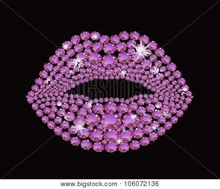 Shining diamond luxury lips jewel and crystal fashion and glamor vector illustration poster
