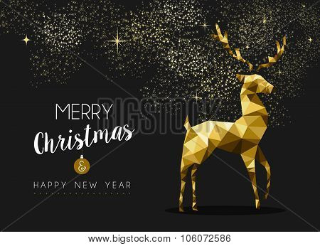 Merry Christmas Happy New Year Gold Deer Origami