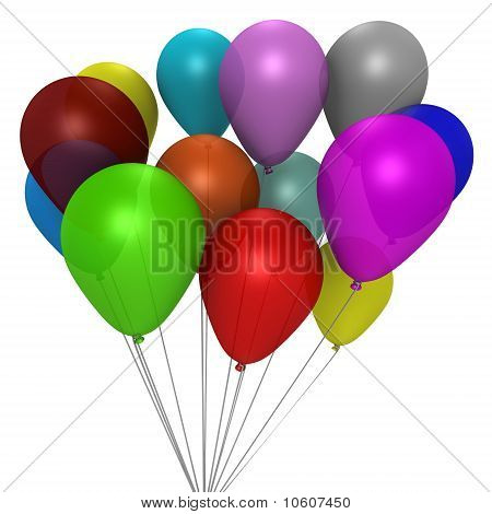 A bouquet of colorful balloons - a 3d image